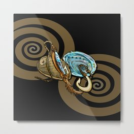 Abalone with Historic Maori Fishing Hooks Metal Print
