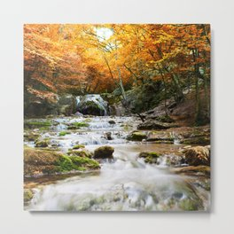 Autumn Forest Waterfall Metal Print