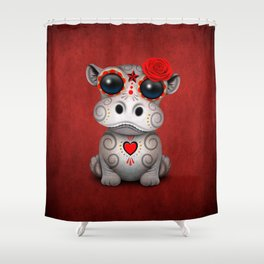 Red Day of the Dead Sugar Skull Hippo Baby Shower Curtain