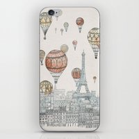 paris iPhone & iPod Skins featuring Voyages Over Paris by David Fleck