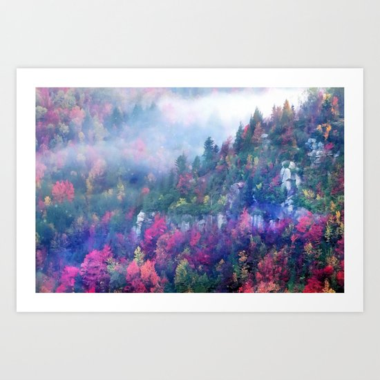 Fog over a colorful fall mountain forest Art Print