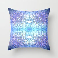 frozen Throw Pillows featuring Frozen Stars Periwinkle Lavender Blue by 2sweet4words Designs