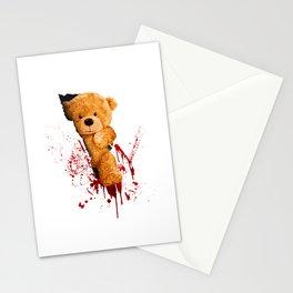 Horror Teddy Bear Cuts Through Shirt With Knife Stationery Cards