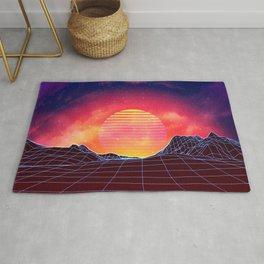 Sunset vaporwave landscape with mountains Rug