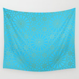 Moroccan Nights - Gold Teal Mandala Pattern - Mix & Match with Simplicity of Life Wall Tapestry