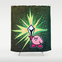 kirby Shower Curtains featuring Kirby Sword by likelikes