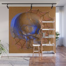 Electric Blue Traditional Skull Wall Mural