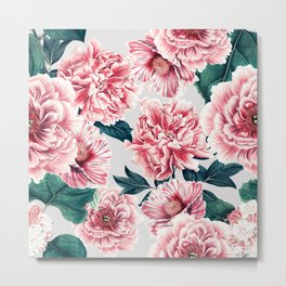 Pattern pink vintage peonies Metal Print