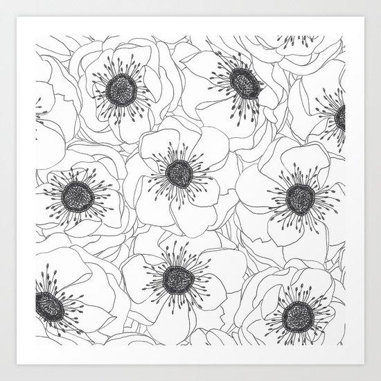 White Anemones Art Print