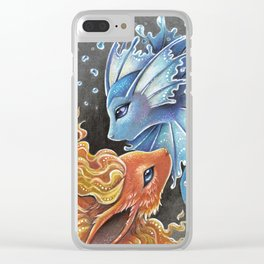 Fire and water Clear iPhone Case