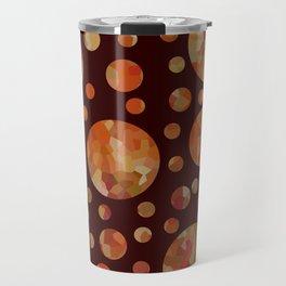 Orange Circles Against Dark Red Travel Mug