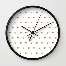 Small gold hearts pattern on white Wall Clock