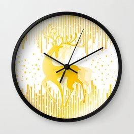 Dancing Deer  - Golden Wall Clock