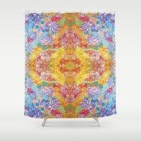lsd Shower Curtains featuring LSD Flower by Zeus Design