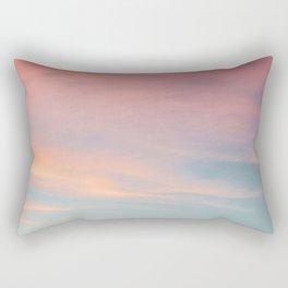 Teal Sky with Orange Clouds Rectangular Pillow