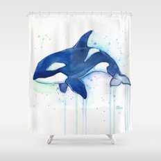 Killer Whale Orca Watercolor Painting Animal Art Shower Curtain