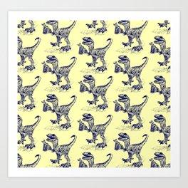 Tipsy Velociraptor with Beer Pattern Art Print