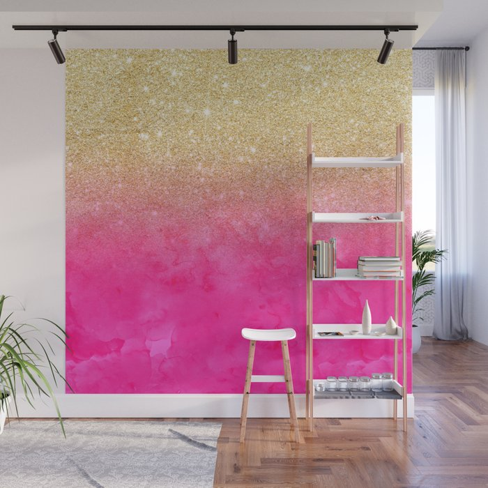 Modern Y Gold Glitter Ombre Fade Neon Pink Watercolor Wall Mural
