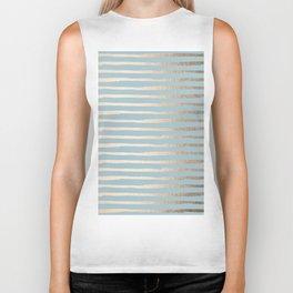 Abstract Stripes Gold Tropical Ocean Sea Blue Biker Tank