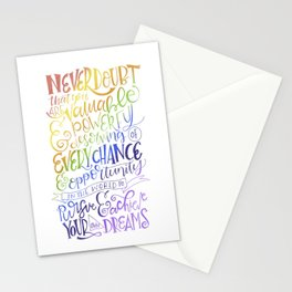 Never Doubt That you are Valuable...Rainbow Hillary Clinton Quote Stationery Cards