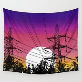 Power lines at sunset Wall Tapestry