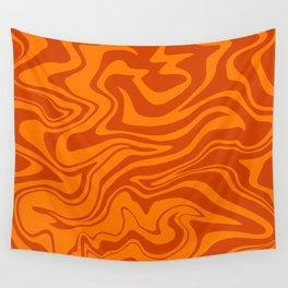 Warped Modern Abstract Liquid Swirl, Fresh Citrus Orange Melt, Bright Lava Color, Melting Tiger Fur Wall Tapestry