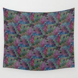 Purple blue swirly patchwork pattern Wall Tapestry