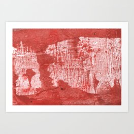 Indian red blurred wash drawing design Art Print