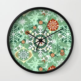 snow in garden Wall Clock