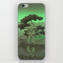 Kawase Hasui Vintage Japanese Woodblock Print Glowing Green Neon Sky Over A Zen Garden Shrine iPhone Skin