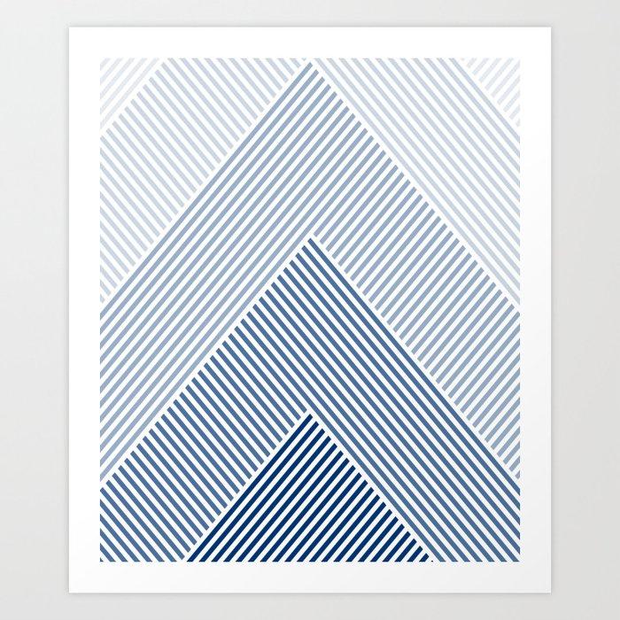 Shades of Blue Abstract geometric pattern Kunstdrucke