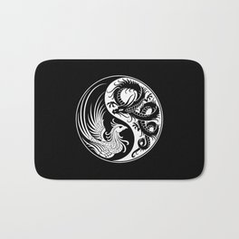 White and Black Dragon Phoenix Yin Yang Bath Mat