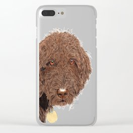 Chocolate Labradoodle Clear iPhone Case