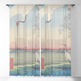 Red-crowned Crane Vintage Ukiyo-e Japanese Art Sheer Curtain