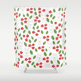 Cute rabbits and flowers Shower Curtain