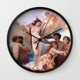 The Birth of Venus by William Adolphe Bouguereau Wall Clock