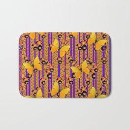 Golden Butterflies Puce Purple Deco Pattern Art Bath Mat