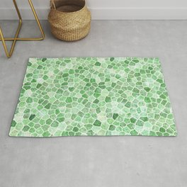 Pale Emerald and Pistachio Cobbled Patchwork Rug