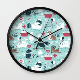 Veterinary medicine, happy and healthy friends // aqua background Wall Clock