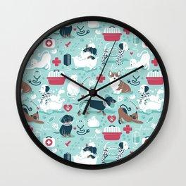 Veterinary medicine, happy and healthy friends // aqua background Wall Clock