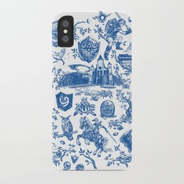 "Zelda ""Hero of Time"" Toile Pattern - Zora's Sapphire iPhone Case"