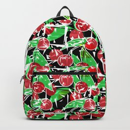 Ripe cherry . Abstract red black berry pattern . Backpack