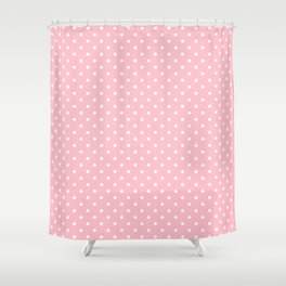 Dots (White/Pink) Shower Curtain