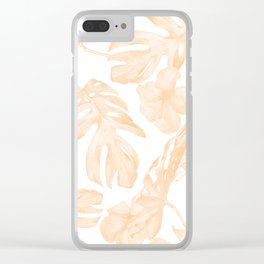 Island Vacation Hibiscus Palm Leaf Coral Apricot Orange Clear iPhone Case
