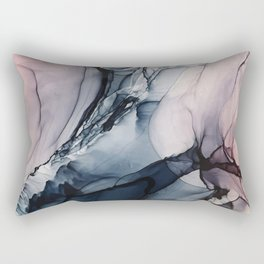 Blush, Navy and Gray Abstract Calm Clouds Rectangular Pillow