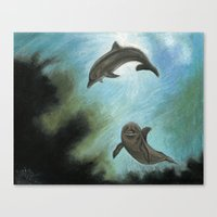 dolphins Canvas Prints featuring Dolphins by Savousepate