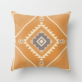 Modern Western Pattern in Butterscotch and Frost Gray Throw Pillow