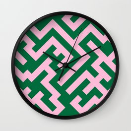 Cotton Candy Pink and Cadmium Green Diagonal Labyrinth Wall Clock