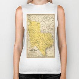 Vintage Map of Texas (1847) Biker Tank