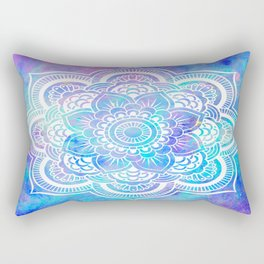 Mandala Pink Lavender Aqua Galaxy Space Rectangular Pillow